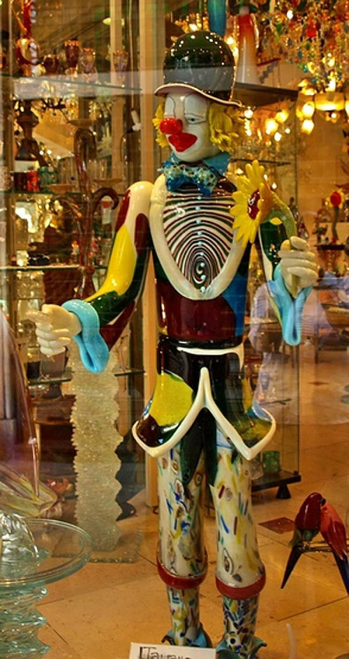 Clown glass sculpture by Murano glass artists