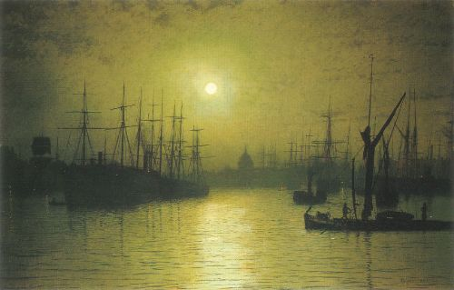 Nightfall Thames. Moonlight Painter John Atkinson Grimshaw