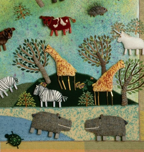 Noah's Ark closeup. Fabric relief illustration by Salley Mavo