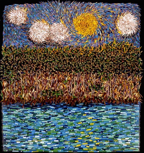 Starry night. Painting made out of colored pencils. Colombian artist Federico Uribe