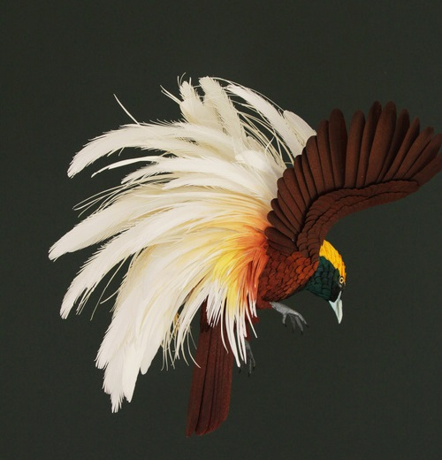 Paper bird sculpture by Colombian artist Diana Beltran Herrera
