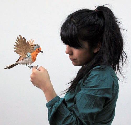 Paper bird sculpture by Colombian artist