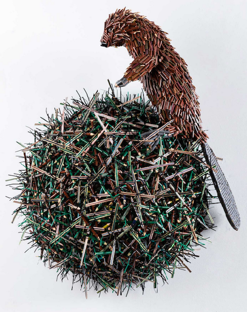 Pencil sculpture by Colombian artist Federico Uribe