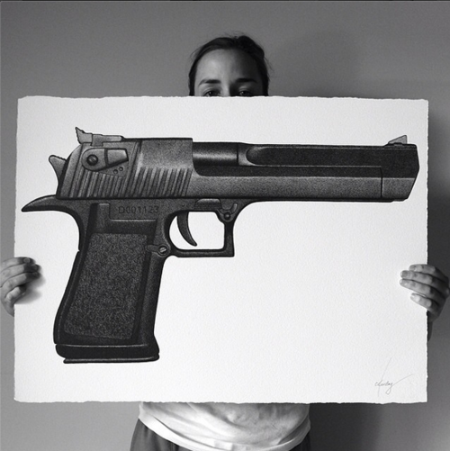 Photo realistic drawing by Australian artist CJ Hendry. Black ball-pen on paper
