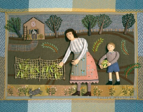 Picking Peas, 1986. Fabric relief illustration by Salley Mavo