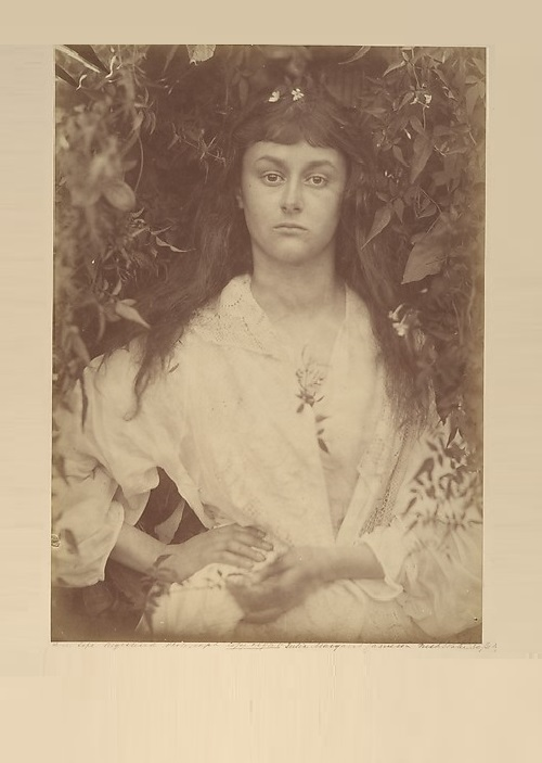 Pomona - Roman goddess of gardens and fruit trees. 1872. Alice Liddell (1852–1934) - Lewis Carroll's muse and frequent photographic model—posed for Cameron a dozen times in August and September 1872