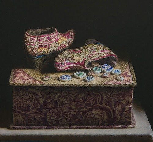 Porcelain money. 2014. Oil on panel. Painting by Uzbekistan artist Erkin