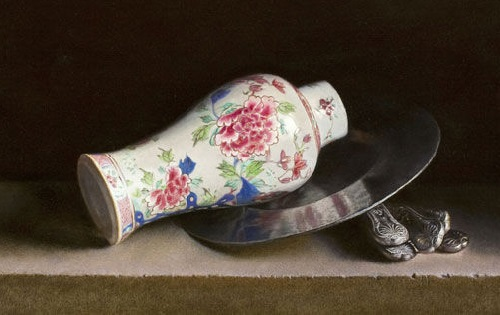 Porcelain vase with rose. 2012. Oil on panel. Painting by Uzbekistan artist Erkin