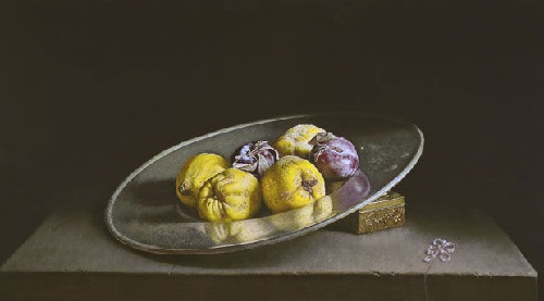 Quinces. 2013. Oil on panel. Painting by Uzbek artist Erkin