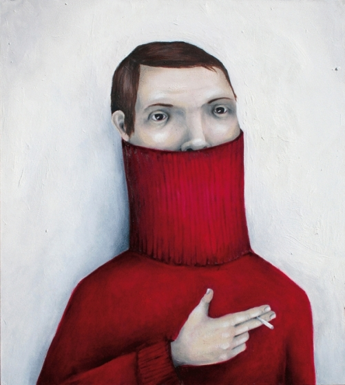 Stefan Zsaitsits painting metaphorical thoughts. Red Turtleneck. Oil on canvas. 2009