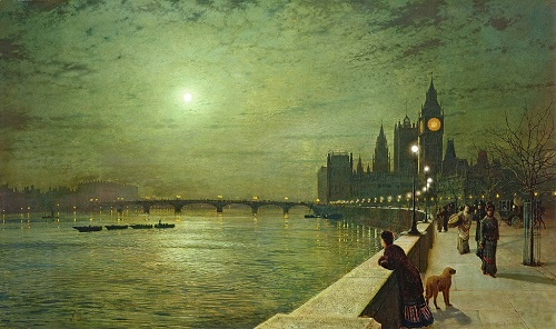 Reflections on the Thames, Westminster, 1880. Painting by John Atkinson Grimshaw
