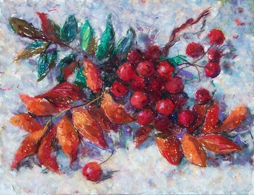 Rowan berries. Wool painting by Russian artist Lyubov Khitkova