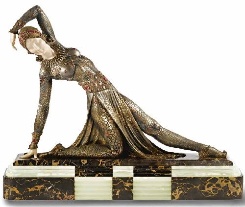 Russian ballet dancers in Art Deco sculpture of Demetre Chiparus