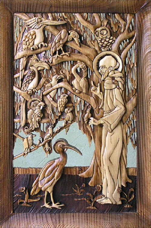 Saint Francis preaching to birds. Decorative wood art by Anatoly Obelets