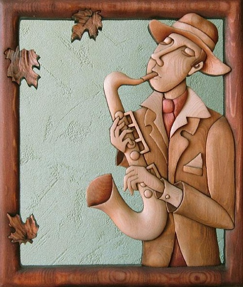 Saxophonists, wood-intarsia. Decorative wood art by Anatoly Obelets