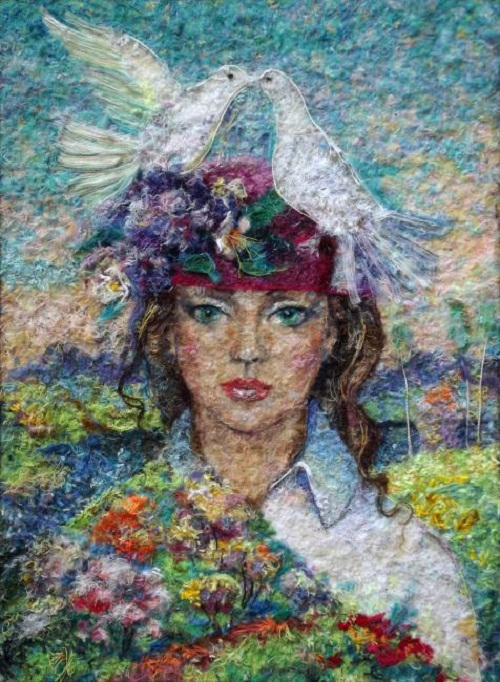 Seasons. Spring. Wool painting by Russian artist Lyubov Khitkova