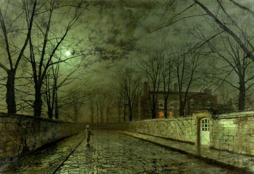 Silver Moonlight. Painting by John Atkinson Grimshaw