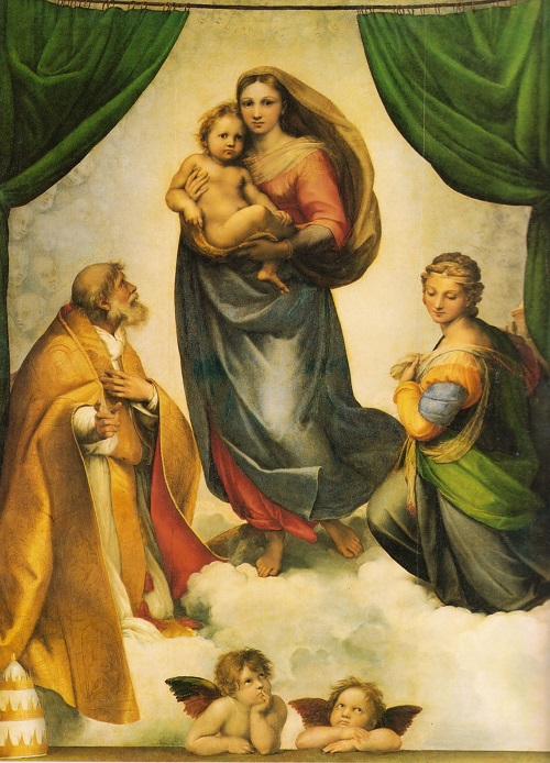 Symbols encrypted in Sistine Madonna. La Madonna di San Sisto, painting by the Italian artist Raphael. 1512