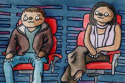 Sloth Facebook friends by British artist Hector Janse van Rensburg