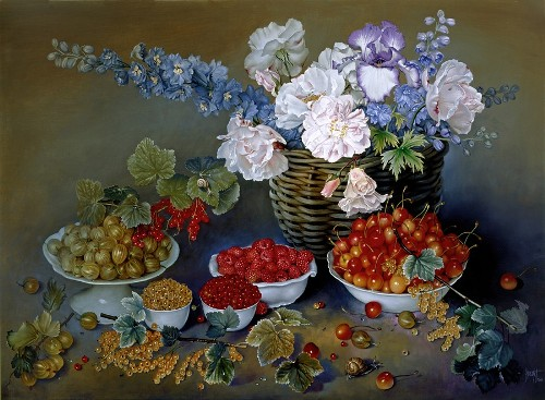 Small Fruits of Summer, oil on canvas, 2000. Still life painting by Jose Escofet