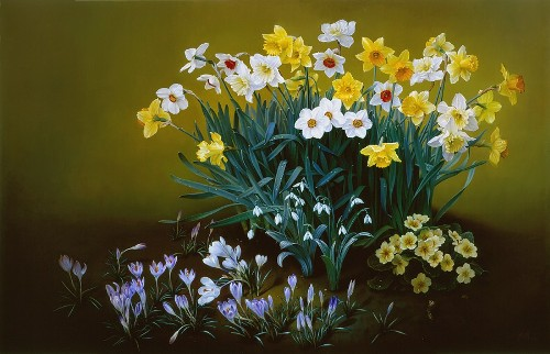 Spring Awakening, oil on canvas, 2002. Still life painting by Jose Escofet
