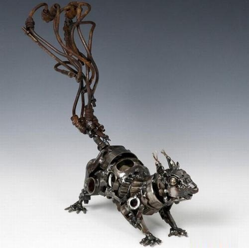 Squirrel. Metal sculpture by James Corbett