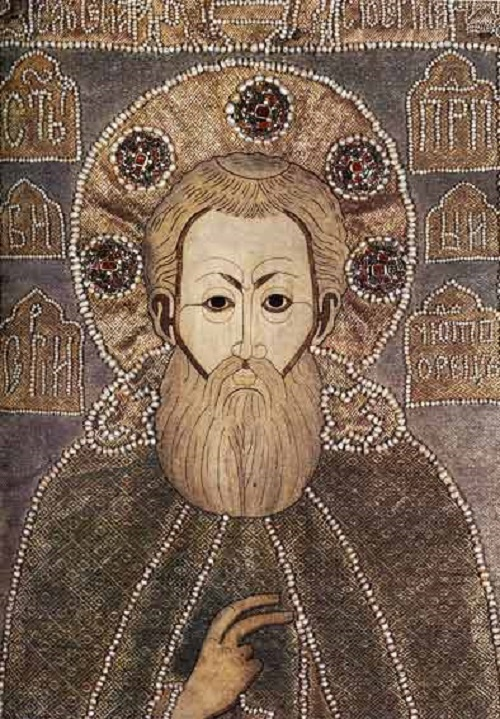 St. Sergius of Radonezh and Scenes from His Life. Russian Medieval Embroidery art
