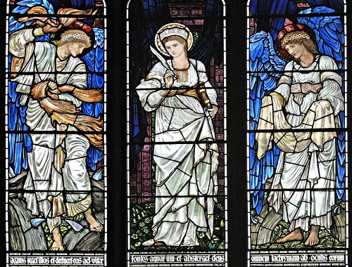 Stained glass windows by British artist Sir Edward Coley Burne-Jones