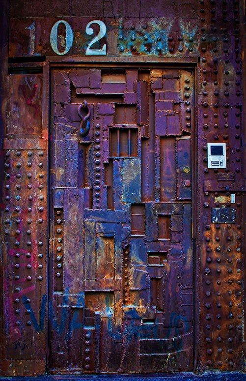 Steam punk inspired door in SoHo, New York, NY, USA