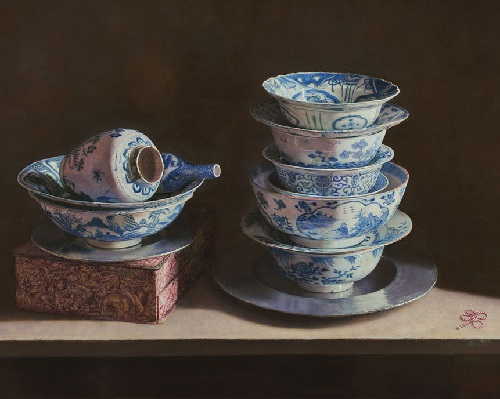 Still Life with Chinese porcelain. 2013. Oil on panel. Painting by Uzbek artist Erkin