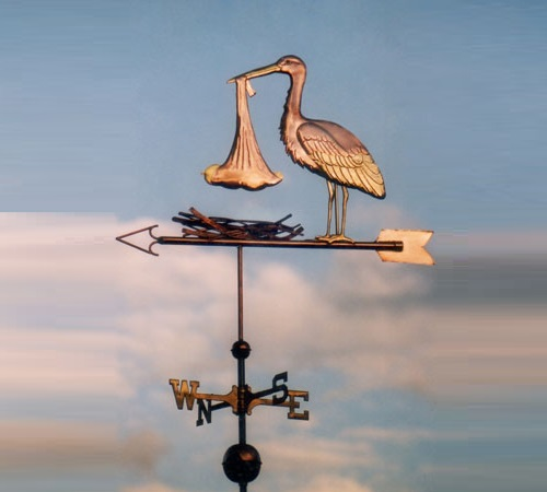 Stork Weather Vane Standing with Baby