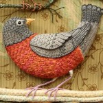 Birds of Paradise – Stump embroidery by Salley Mavor, artist of applied art from Massachusetts