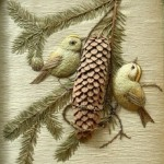 Two birds with a pine cone. Stumpwork embroidery by Belgian artist of applied art Christine Paris