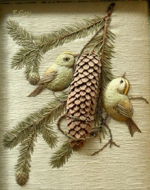 Stumpwork embroidery by Christine Paris