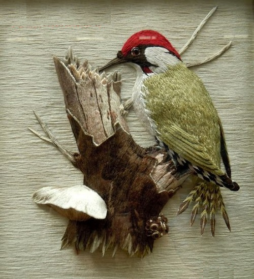 Woodpecker. Stumpwork embroidery by Belgian artist of applied art Christine Paris