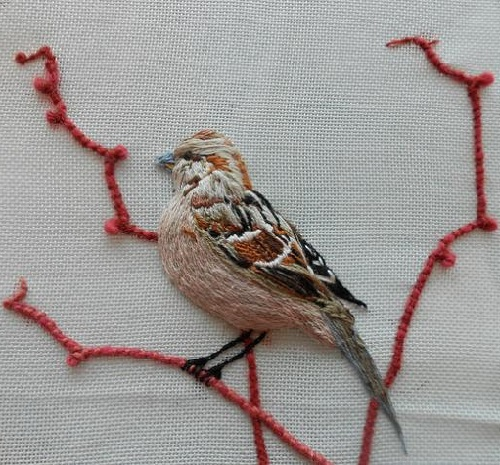Sparrow. Stumpwork embroidery with 3-dimensional effect