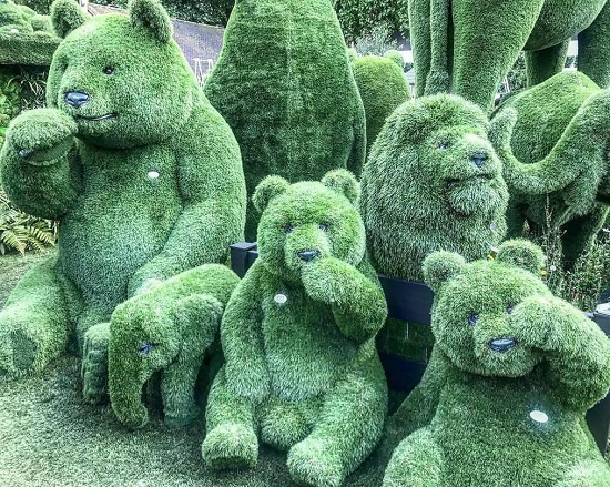 Masterpiece of Topiary art. Stunning work of topiary artists - green zoo