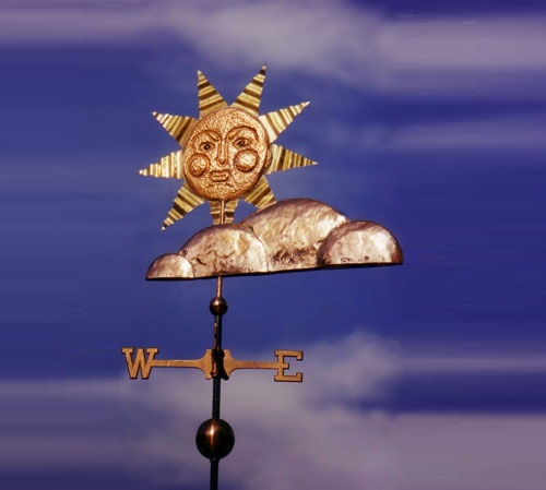Sun Weather Vane with Clouds. The West Coast Weather Vanes art studio, California