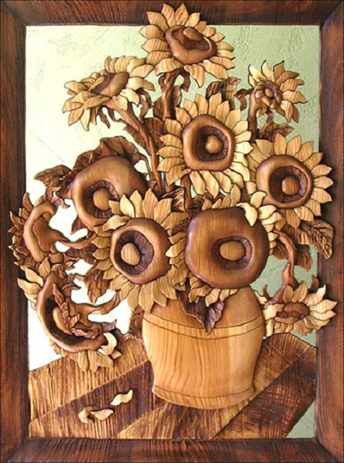 Sunflowers. Decorative wood art by Anatoly Obelets