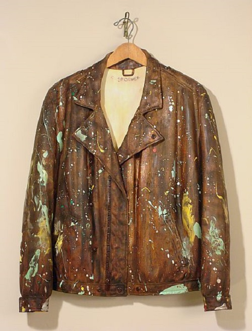 'The Bridge Painter's Coat' Carved wood, oil stain & mixed media, 2009