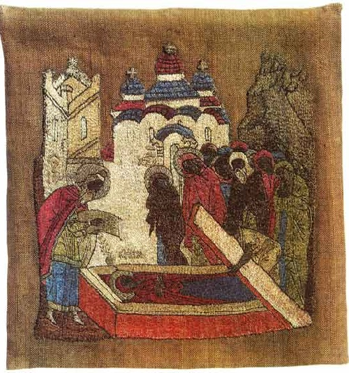 The Burial of St. Anna. Icon-cloth. Second half of the 15th century