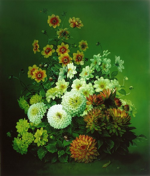 The Dahlia Pyramid, oil on canvas, 2003. Still life painting by Jose Escofet