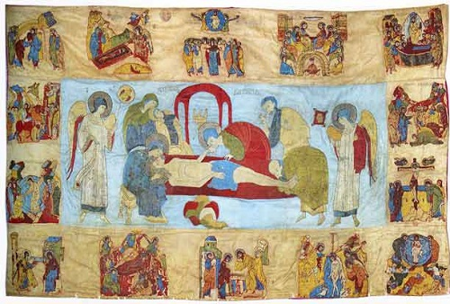 The Entombment and Feasts. Shroud. Late 15th century