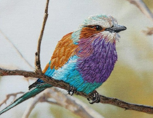 The Lilac Breasted Roller. Embroidery by Elza, South Africa