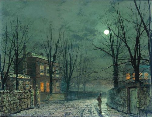 The Old Hall Under Moonlight. Painting by John Atkinson Grimshaw