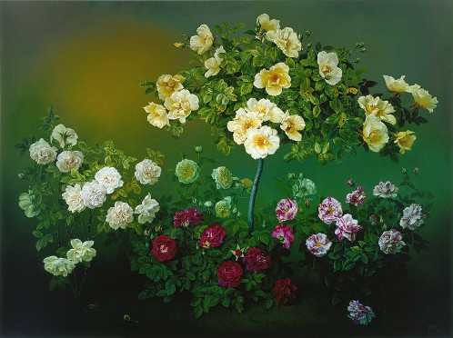 The Old Rose Garden, oil on canvas, 2002. Still life painting by Jose Escofet