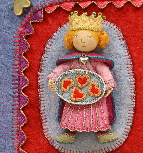 The Queen of Hearts. Fabric relief illustration by Salley Mavo