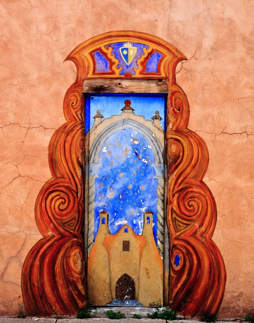 The artful door in Santa Fe, New Mexico, USA