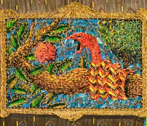 The date (center), painting made out of colored pencils. Colombian artist Federico Uribe