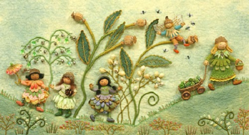 The original fabric relief illustrations from POCKETFUL OF POSIES. Fabric relief illustration by Salley Mavo